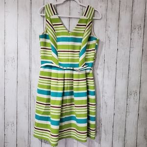 JULIAN TYLOR STRIPE DRESS.SIZE 12